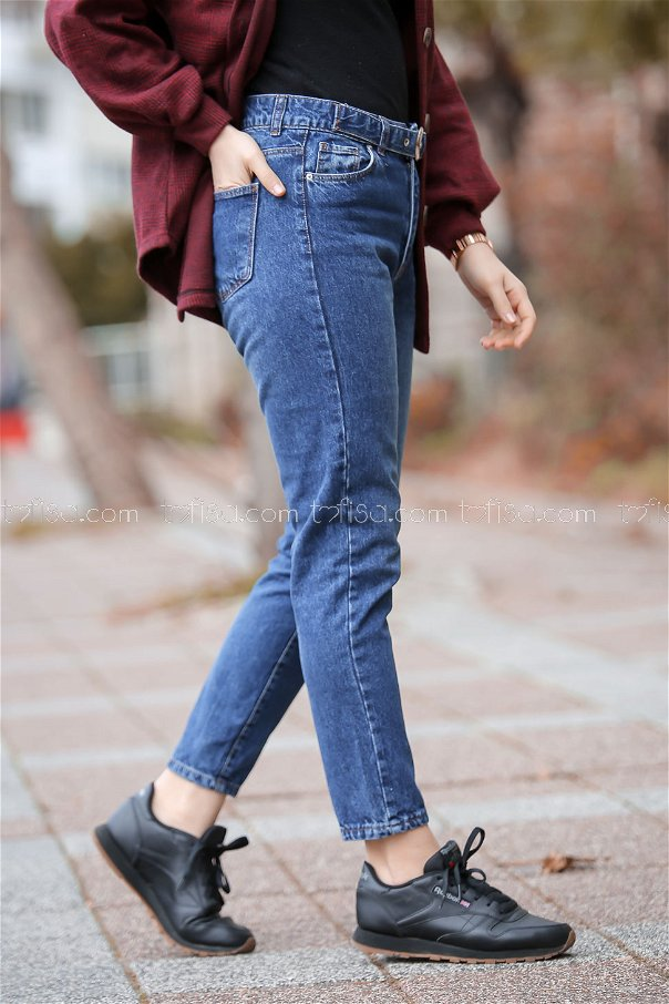 Pants Jeans Details belt blue - 8305
