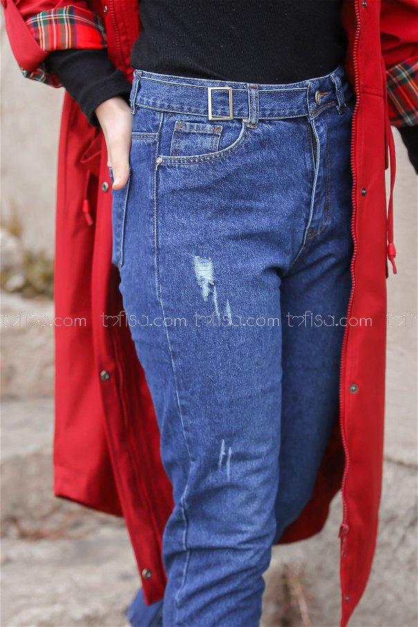 Pants jeans Details Belt color blue - 8301