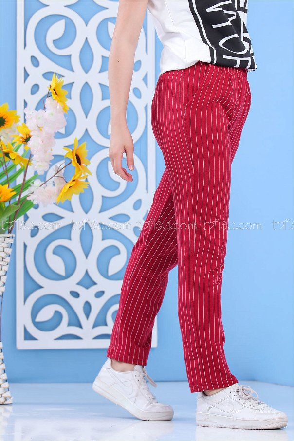 Pants Striped claret red - 02 6819