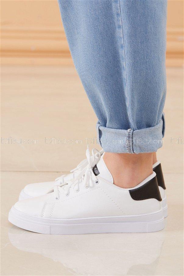 Parlak Garnılı Ayakkabı BYZ BEYAZ SIYAH - 8698