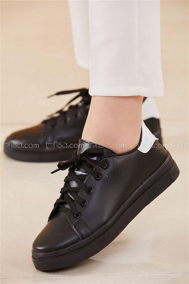 Parlak Garnılı Ayakkabı SYH SIYAH BEYAZ - 8698