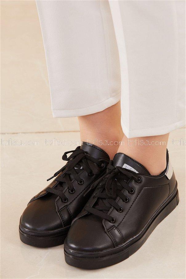 Parlak Garnılı Ayakkabı SYH SIYAH GUMUS - 8698