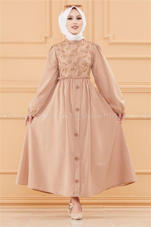 Patterned Dress BEIGE - 20163