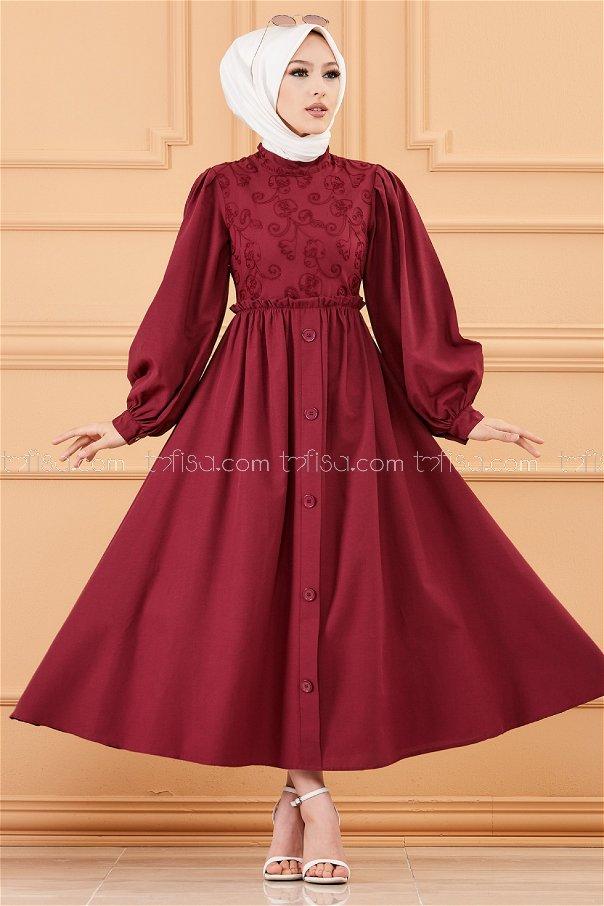 Patterned Dress CLARET RED - 20163