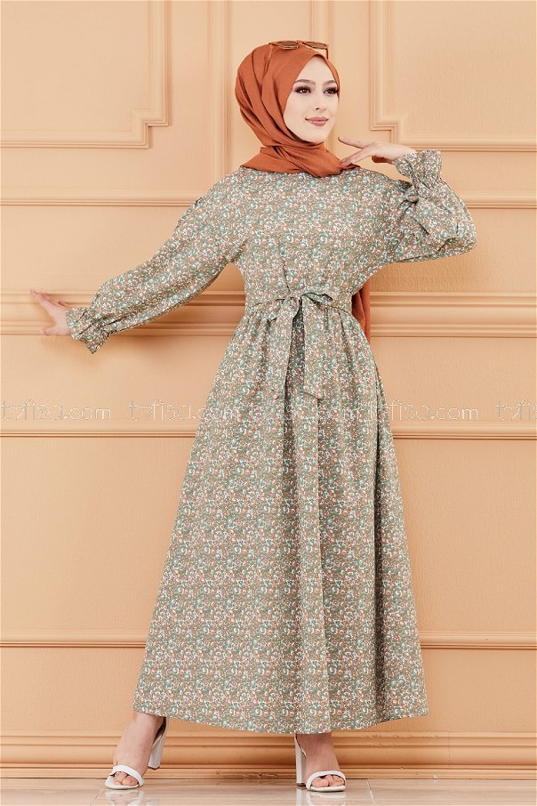 Patterned Dress KHAKI -20107