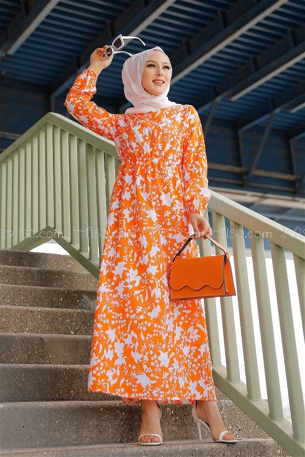 Patterned Dress ORANJ - 3714