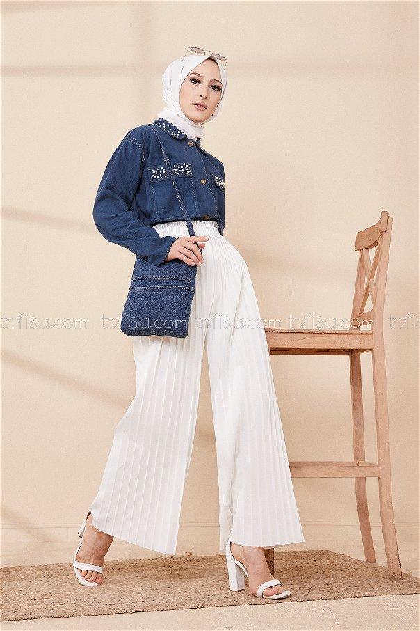 Pılıselı Pantolon Beyaz - 8705