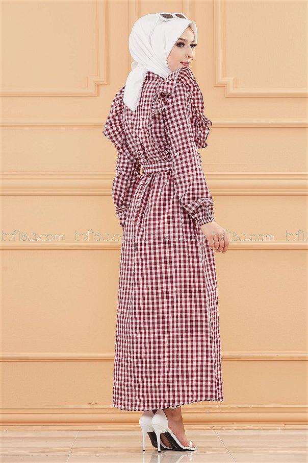 Plaid Dress Claret Red - 3718