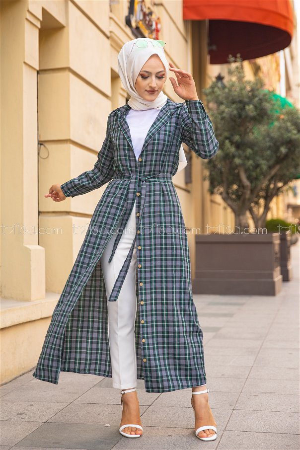 Plaid Dress Green - 3259