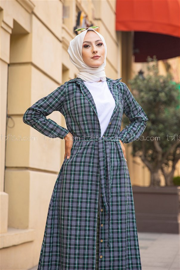 Plaid Dress Green - 3259