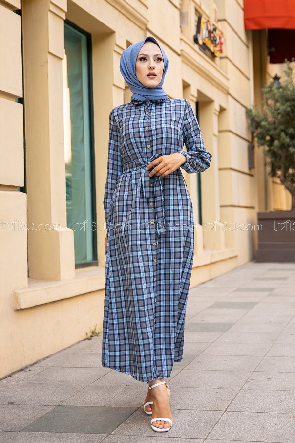Plaid Dress Light Blue - 3259