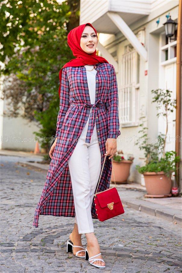 Plaid Dress Red - 3259