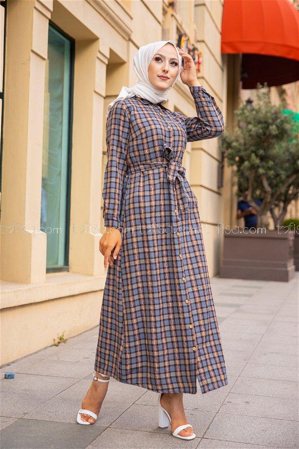 Plaid Dress Tan - 3259