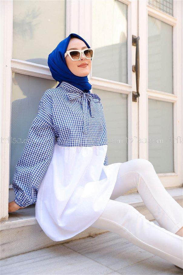 Plaid Tunic Blue - 3255