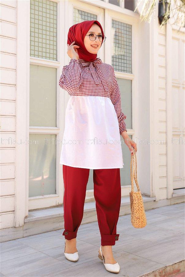 Plaid Tunic Claret Red - 3255