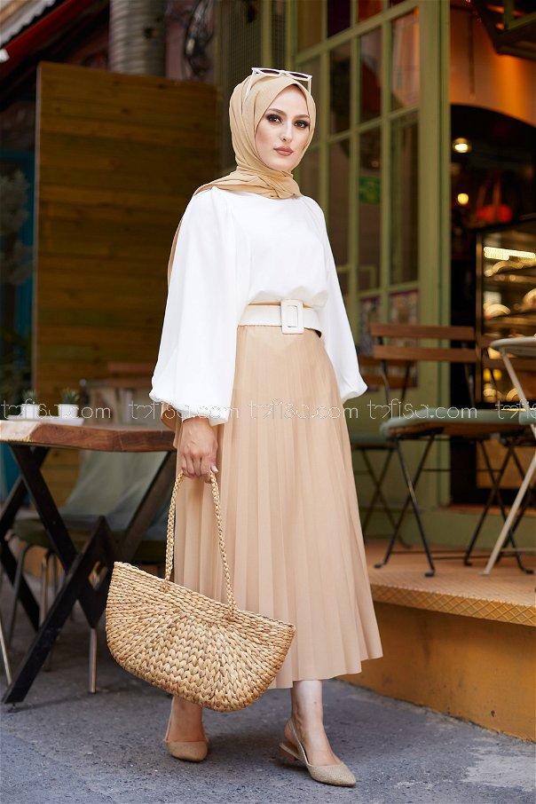 Pleated Skirt Beige - 3219