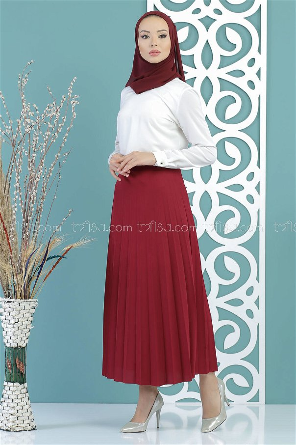 Pleated Skirt claret red - 02 7670