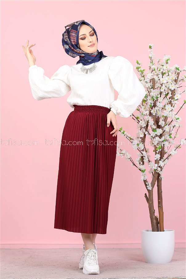 Pleated Skirt Claret Red - 3102