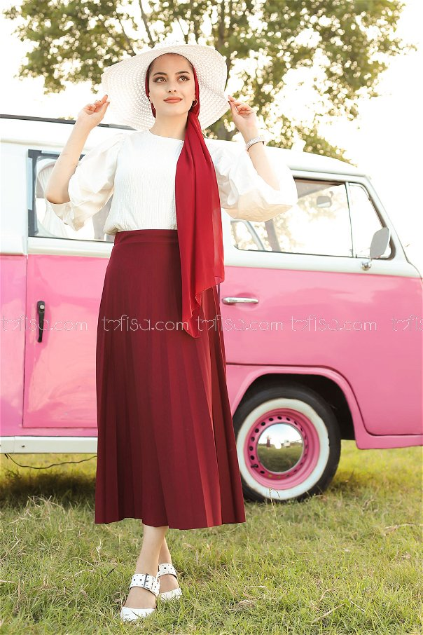 Pleated Skirt Claret Red - 3219