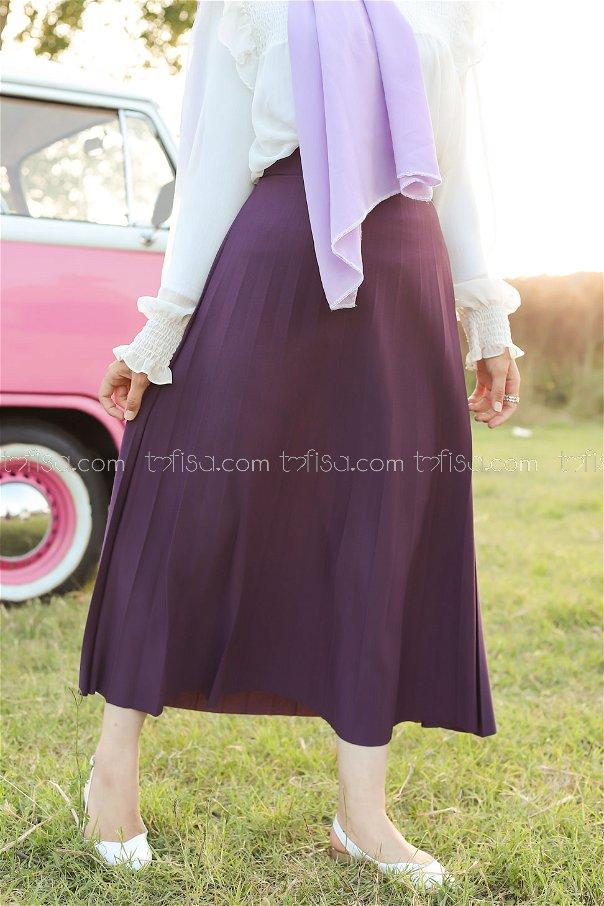 Pleated Skirt Damson- 3219