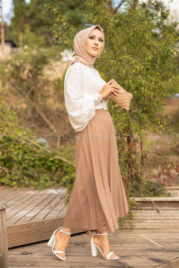 Pleated Skirt Dark Mink - 3219