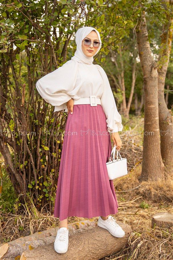 Pleated Skirt Dark Rose - 3219
