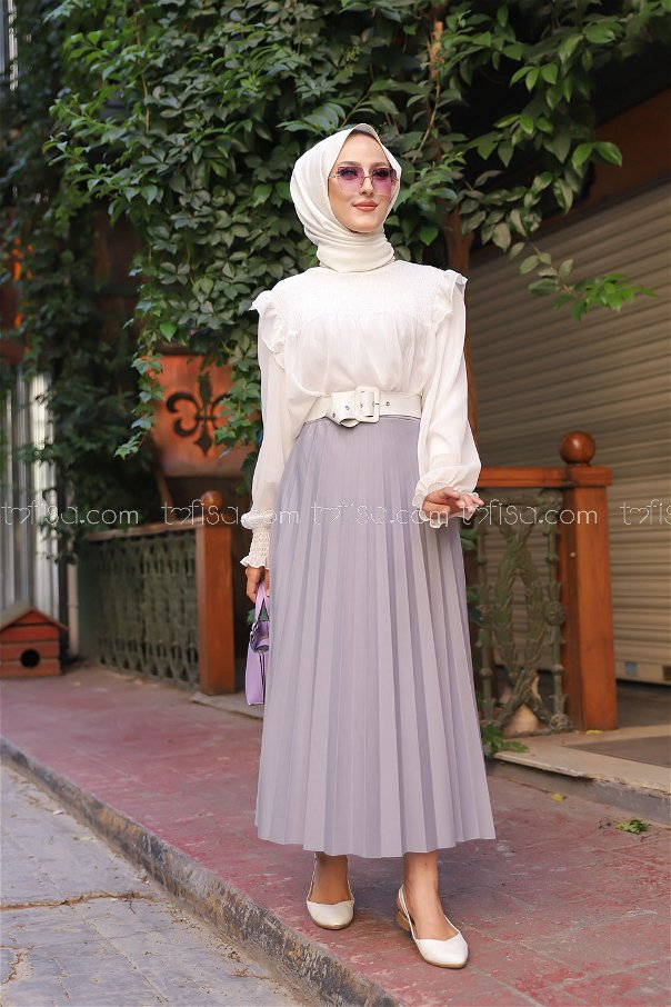 Pleated Skirt Grey - 3219