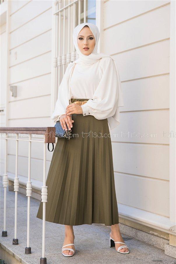 Pleated Skirt Khaki - 3219