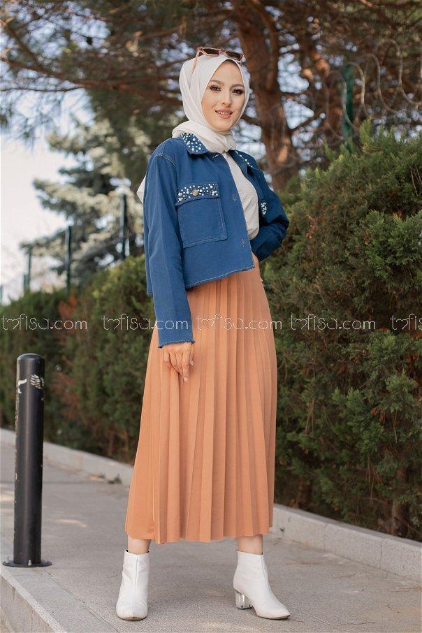 Pleated Skirt Light Brown - 3219