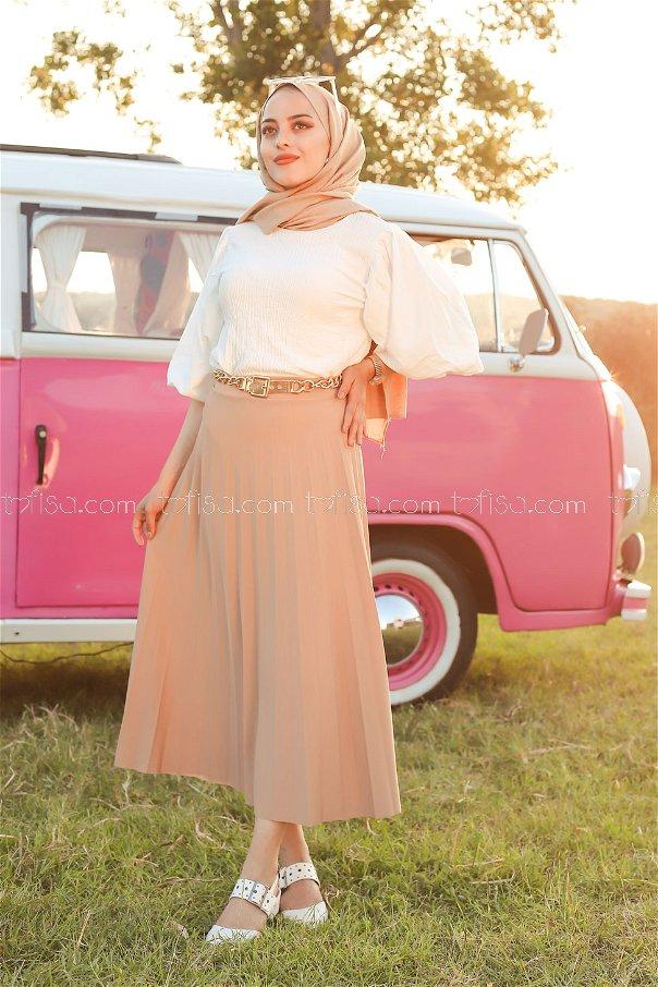 Pleated Skirt Mink - 3219