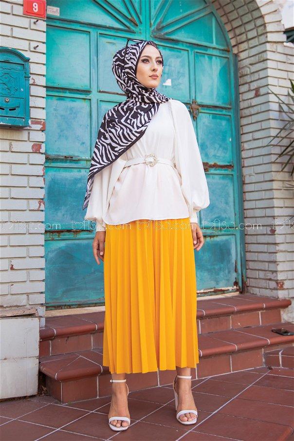 Pleated Skirt Mustard - 3219