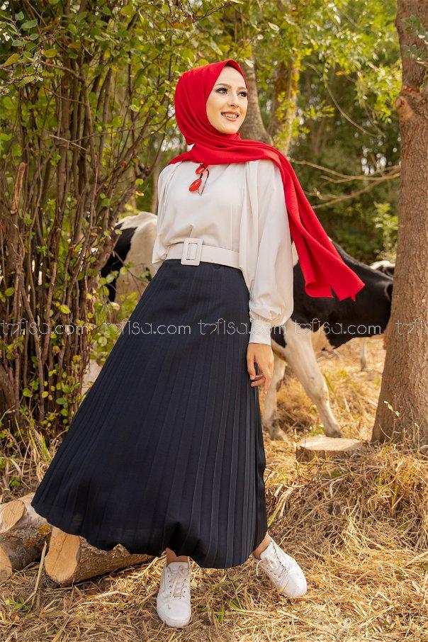 Pleated Skirt Navy Blue - 3219
