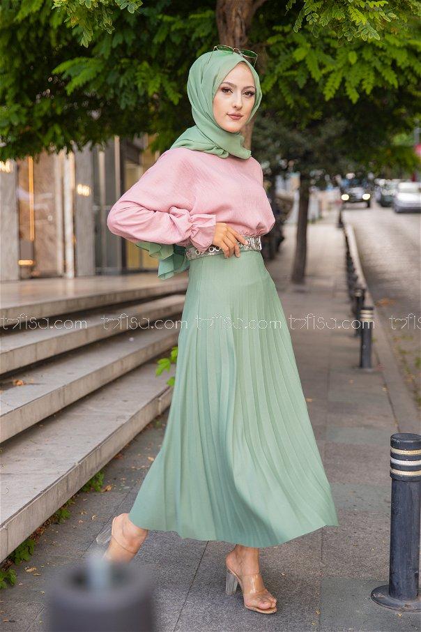 Pleated Skirt Pistachio Green - 3219