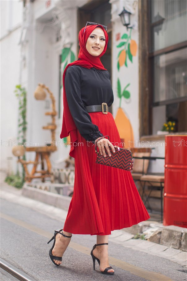 Pleated Skirt Red - 3219