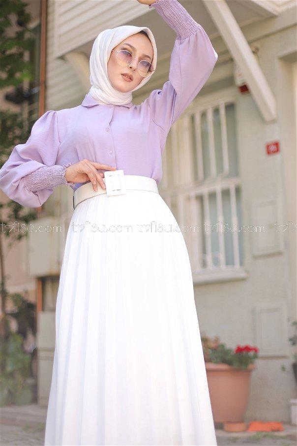 Pleated Skirt White - 3219