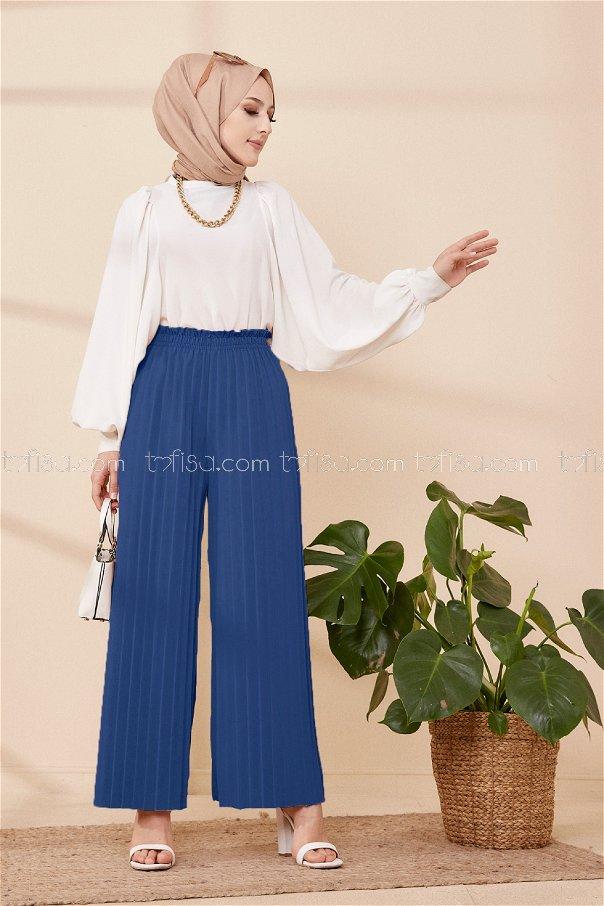 Pleated Trousers Indigo - 3520