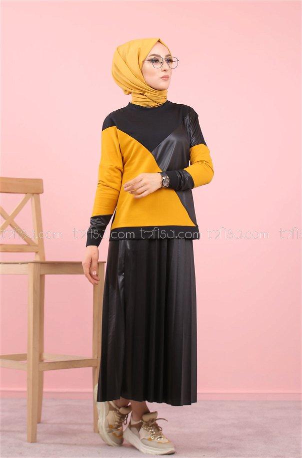 Plise Bluz Etek Siyah Hardal - 8311