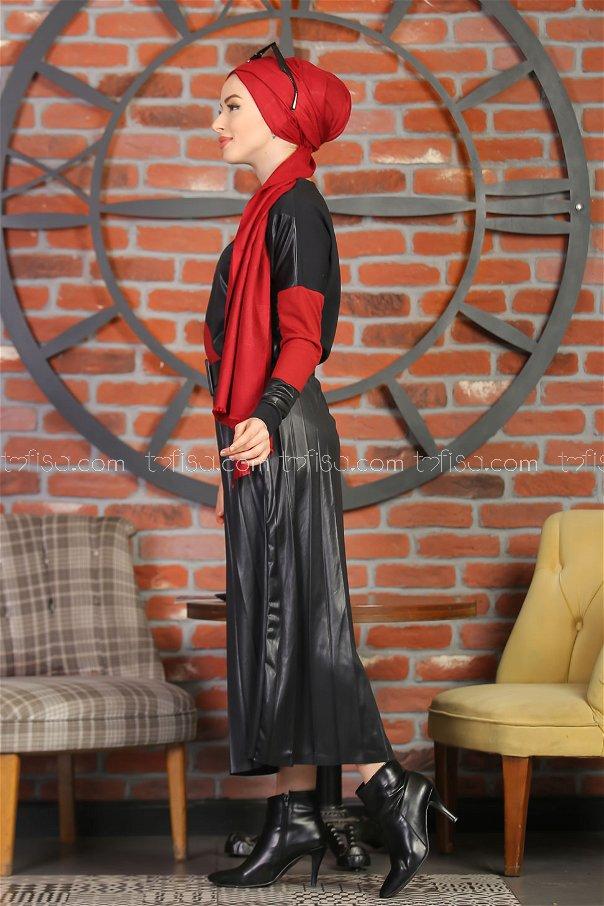 Plise Etek Bluz Siyah Bordo - 1349