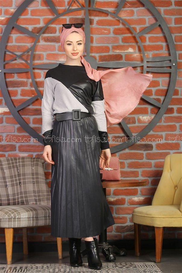Plise Etek Bluz Siyah Gri - 1349