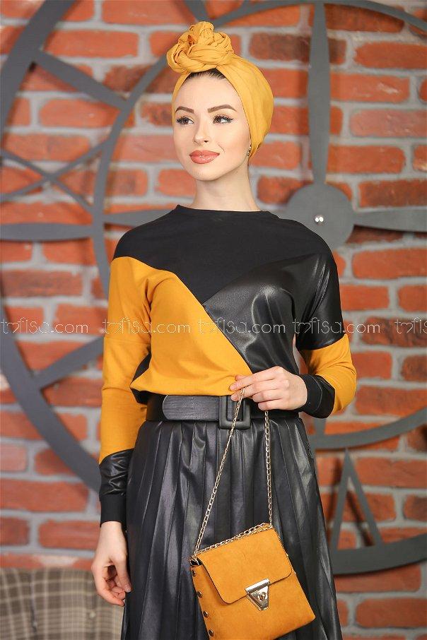 Plise Etek Bluz Siyah Hardal - 1349