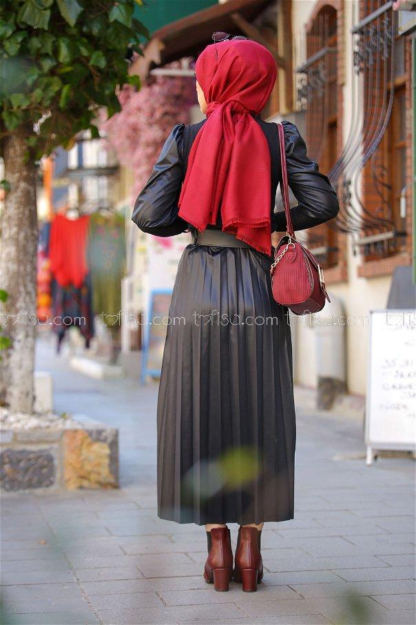 Plise Etek Bluz Siyah - 1350