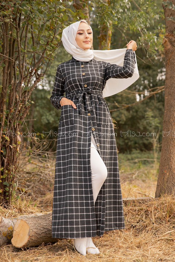 Pocket Dress Anthracite Ecru - 3301