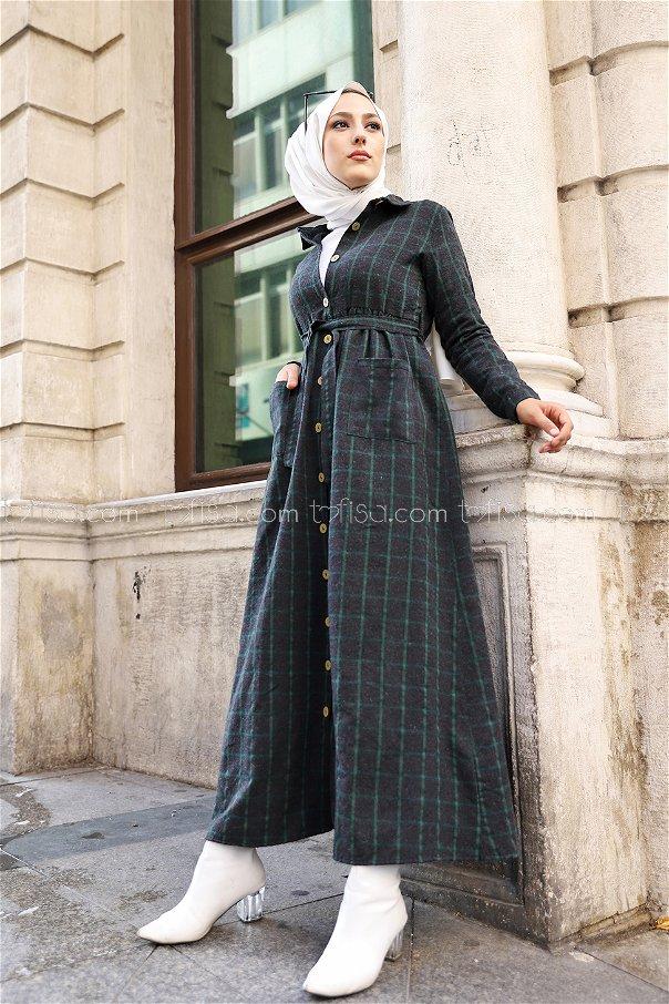 Pocket Dress Anthracite Emerald - 3301