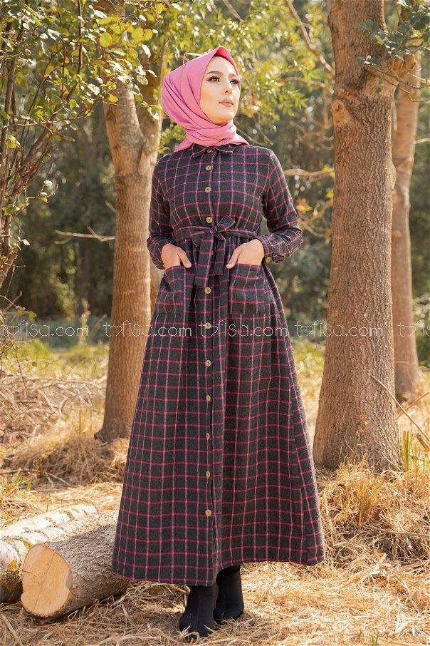 Pocket Dress Anthracite Fuchsia - 3301