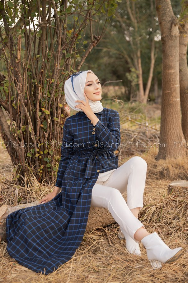 Pocket Dress Anthracite Sax - 3301