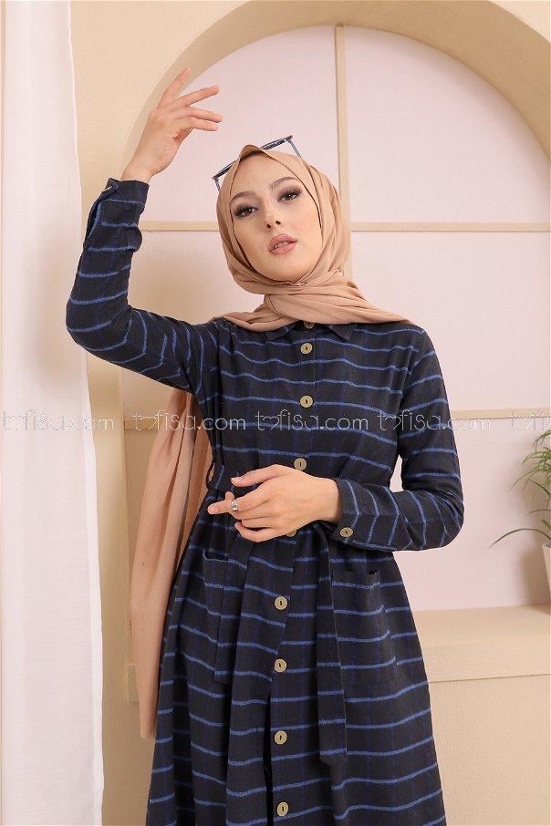 Pocket Dress Black Sax - 3301