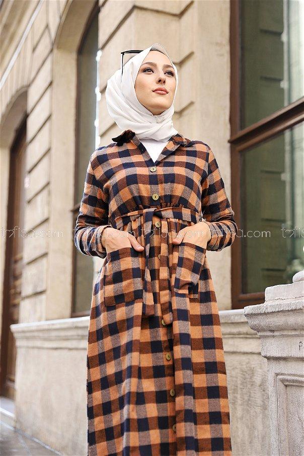 Pocket Dress Black Tan - 3301