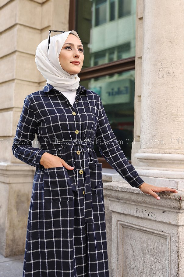 Pocket Dress Navy Blue Ecru - 3301