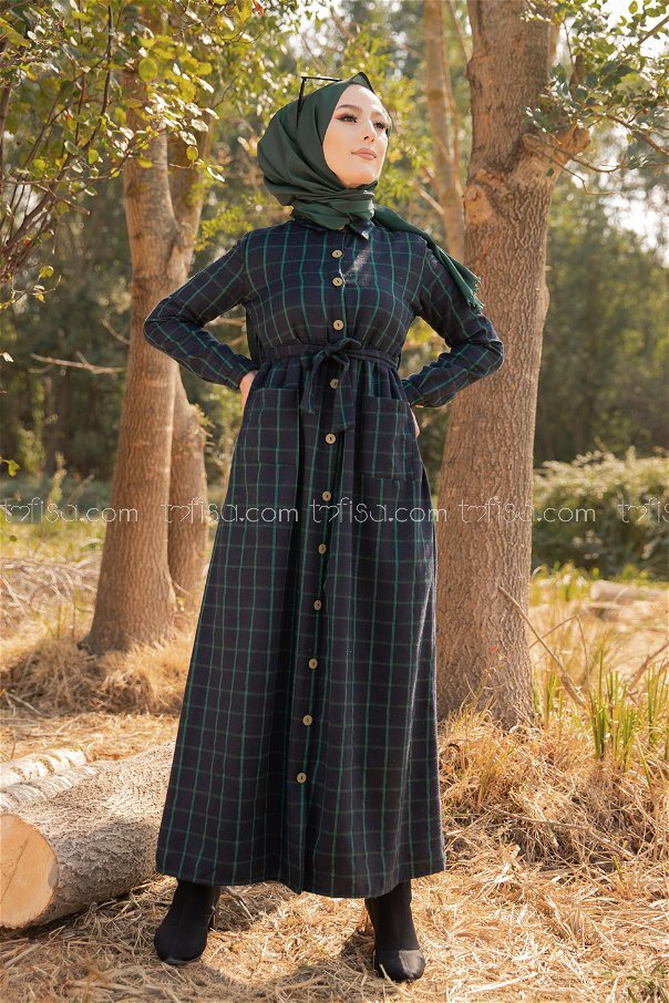 Pocket Dress Navy Blue Emerald - 3301