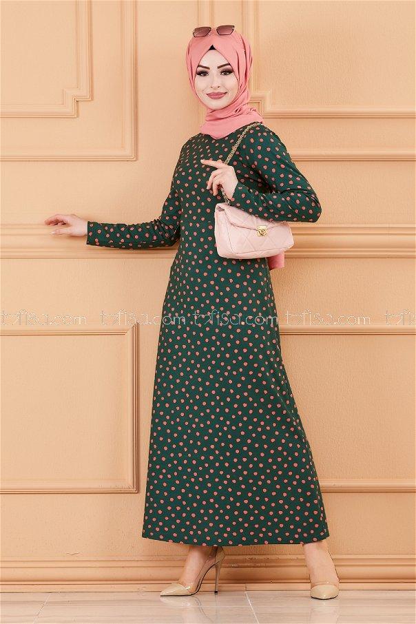 Polka Dot Dress EMERALD - 8453